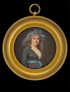 Beautiful combination of charcoal grey and blue. French Lady in Grey Gown with Blue Silk Sash approx. 1797