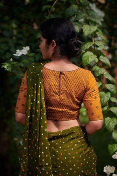 Manjal – The Kaithari Project Cotton Saree Blouse Designs, Stylish Blouse Design, Fancy Blouse Designs, Viria, Kalamkari Dresses, Designer Blouse Patterns, Blouse Models, Flower Shorts, Yellow Saree