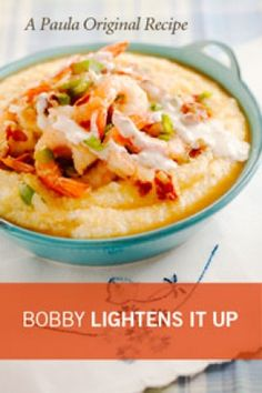 Bobby Deen's Lighter Shrimp & Grits has 293 fewer calories & 34 grams less fat than Paula's original recipe  12 shrimp, ¼ cup Canadian bacon, 2 tsp olive oil, 1 onion, ½ green bell pepper, 1-3 minced garlic cloves, 14½-oz can petite-cut diced tomatoes, ¼ cup dry white wine, 1 tsp hot sauce, ¾ tsp salt, ¼ cup fat-free half-&-half, 3 cups water, ¾ cup uncooked quick-cooking grits, 1 TBsp chopped chives  222 Cal, 23g Protein, 5g Fat, 21g Carb, 7g Sugar; 1253 mg Sodium
