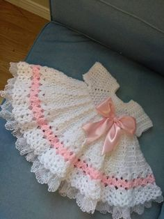 Crochet pink and white baby dress with lace by BabyBeautiful801