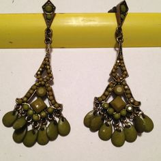 Green chandelier earrings Khaki green with dark metal   Almost 3 inches in length Jewelry Earrings