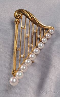 18kt Gold, Cultured Pearl, and Diamond Harp Brooch, Mikimoto