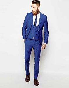 Noose & Monkey Cobalt Blue Skinny Suit With Shawl Collar