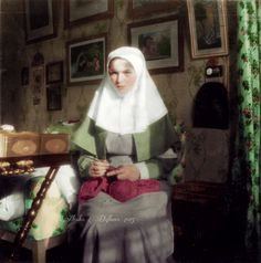 Grand Duchess Olga Nikolaevna crocheting