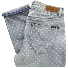 Paul by Paul Smith F247 Blue Polka Dot Cropped Jeans (2.566.960 IDR) ❤ liked on Polyvore featuring jeans, pants, bottoms, pantalones, cropped skinny jeans, dots jeans, 5 pocket jeans, polka dot skinny jeans and zipper jeans