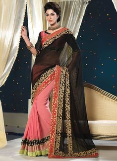 Graceful Faux Georgette Designer Half N Half Saree