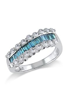1.125 CT Blue & White Diamond Ring In 14k White Gold