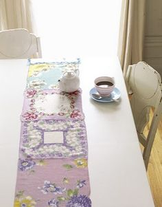 from country living, a shabby chic idea to take vintage handkerchiefs and sew together for a table runner! Handkerchief Crafts, Vintage Handkerchiefs, Recycling, Diy Table, Spring Crafts, Hot Pads, Flower Crafts, Household Items, Table Runners