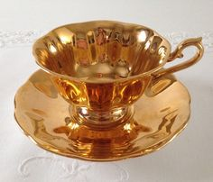 Gold Royal Albert China Tea Cup & Saucer by TheEclecticAvenue