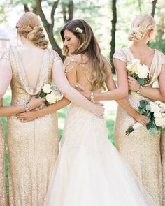 Gold sequins are trending big time! Love these Sorella Vita draped back styles she picked out for her 'maids available at brideside.com    Photo by: Mikayla Dawn