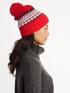 0c5cd96209d Old Navy Printed Sweater-Knit Pom-Pom Beanie for Women