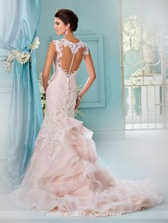 David Tutera - Tulle and organza over satin fit and flare gown with hand-beaded re-embroidered Alencon lace appliqués, lace cap sleeves, Queen Anne neckline, lace appliqué illusion heart shaped back b Wedding Dresses Photos, Designer Wedding Dresses, Bridal Dresses, Wedding Gowns, 2017 Wedding, Wedding Shoes, Lace Wedding Dress With Sleeves, Fit And Flare Wedding Dress, Mermaid Dresses