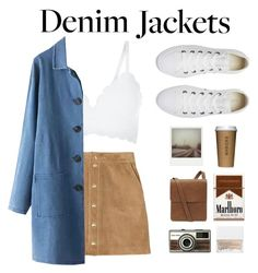 """""""Long denim jacket"""" by xniko ❤ liked on Polyvore featuring New Look, WithChic, Converse, Polaroid, NARS Cosmetics, Mulberry, denimjackets and WardrobeStaples"""