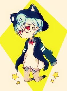 neko, cat, boy, kawaii, chibi, anime image
