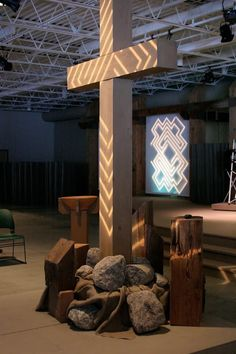 """At Covenant Life Church, a labyrinth was used as the principle visual element to accompany the Lenten sermon series """"A journey to the Cross."""""""