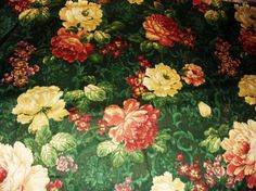 Ivory and Burgandy Peony with Green Background Fabric, 2yards, Cotton Fabric M1006