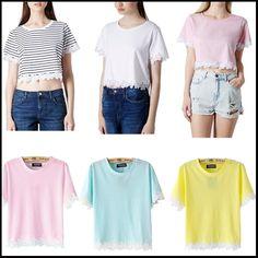 2014 Summer New Crew Neck Short Sleeve Embroidered Daisy Hem Crop Top Short T-short  € 9,00
