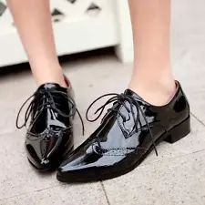 Women's Pointy Toe Block Heels College Patent Leather Lace Up Oxford Shoes@RED