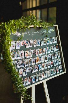 20 Creative Wedding Ideas to Use Polaroid - Page 2 of 2 Wedding Polaroid Escort Cards Reception Seating Chart, Wedding Reception Seating, Seating Chart Wedding, Wedding Guest Book, Wedding Table, Wedding Beach, Rustic Wedding, Trendy Wedding, Booth Seating