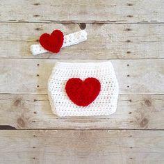 Crochet Baby Heart Diaper Cover Headband Set Infant Newborn Baby Handmade  Photography Photo Prop Baby Shower Gift Present Valentine s Day 5927d7840d72