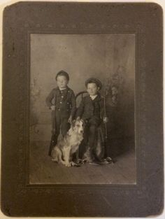 Cabinet Card of Two Boys with Guns and Collie Dog Hillyer Son Sanger Texas | eBay