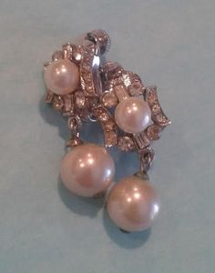 Vintage Vendome Earrings Silver tone Faux Pearls and Clear Rhinestones, Dangle clip on.