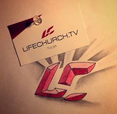 Pencil and colored pencils drawing of the Life.Church Logo