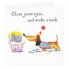 Wish a 'Happy Birthday' to the dachshund-lover in your life with this quirky and unique greetings card design. Created by Rachael Baines, this adorable daxie ca Happy Birthday Messages, Happy Birthday Quotes, Happy Birthday Images, Happy Birthday Greetings, Birthday Pictures, Happy Quotes, Happy Birthday Dachshund, Happy Birthday Illustration, Dachshund Gifts