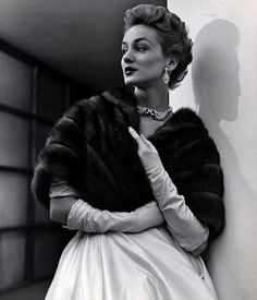 Alice Bruno in mink stole, photo by Nina Leen, 1951