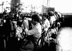 "Original caption: ""Girls loop stockings at Ipswich Mills, Boston. Massachusetts."""