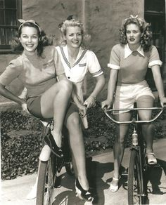 Bobbins and Bombshells: Mid-Week Inspiration: Chic 1940's Ladies On Their Bikes  cycling in style!