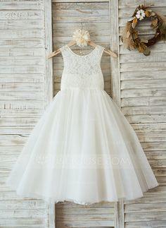 [US$ 63.49] A-Line/Princess Floor-length Flower Girl Dress - Satin/Tulle/Lace Sleeveless Scoop Neck (010090577)