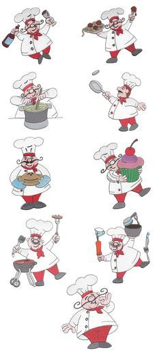 Bon Appetit Chefs Filled Set 1 embroidery design set available for instant download at www.designsbyjuju.com
