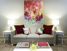 The Michelle Armas painting is beautiful. This room feels beautiful, simple and elegant.