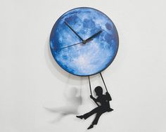 Swinger Girl Blue Moon  Pendulum Wall Clock by ObjectIndustrialArt, $33.00