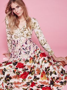 Mixed Floral Maxi Dress at Free People Clothing Boutique