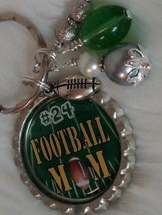 FOOTBALL MOM keychain PERSONALIZED Mom Necklace by HAZELCOVE, $15.00