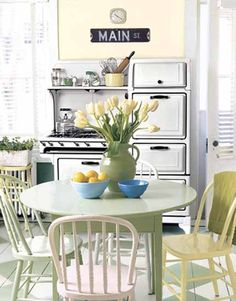 green painted kitchen table