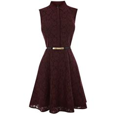Oasis Lace Shirt Dress, Dark Purple ($71) ❤ liked on Polyvore