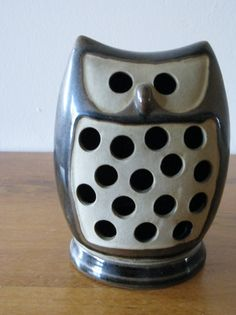 Danish modern ceramic owl candle luminar(reserved). $20.00, via Etsy.