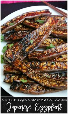 The flavors are an obvious match made in heaven and the Japanese eggplant makes a perfect canvas to soak them up. This side is perfect for entertaining, as it is easy to make a big platter in no time. It is a simple dish, but this grilled ginger miso-gl Grilling Recipes, Veggie Recipes, Asian Recipes, Vegetarian Recipes, Cooking Recipes, Healthy Recipes, Cooking Time, Japanese Eggplant Recipes, Grilled Eggplant Recipes