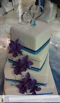 Purple Blue and White 4 Tier Square Wedding Cake
