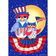 Patriotic Owls Flag
