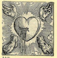 The Holy Heart of Jesus and the Five Wounds of Christ's Love (1521), a woodcut by Sigmund Grimm – Source