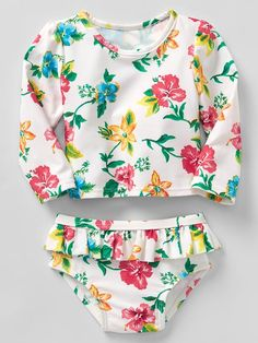 Floral rashguard ruffle swim two-piece Product Image