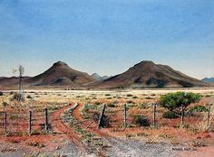 Karoo Farm Road by Barbara Philip ~ watercolor countryscape Watercolor Landscape, Landscape Art, Landscape Paintings, Landscape Photography, Watercolor Artists, Watercolour, African Art Paintings, African Artwork, Road Painting