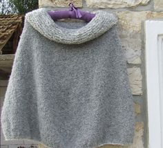 Hand knitted poncho -Alpaca poncho - Cowl neck poncho - Chunky knit cape - Grey cowl neck poncho knitted  in Drops Alpaca Boucle by WoolieBits on Etsy