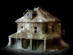 Mold-covered model buildings imagine a ghostly end of the world...