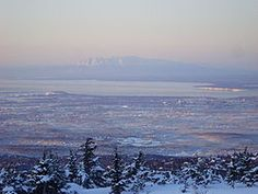 Sleeping Lady lies in wintery sub-zero silence across Cook Inlet from Anchorage. Photo taken from the Anchorage Hillside!