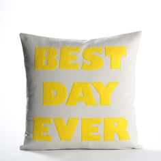 BEST DAY EVER  recycled felt applique pillow by alexandraferguson